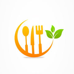 Kitchen healthy food icon fork spoon knife leaf
