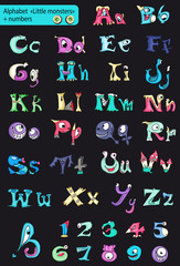 Roman alphabet with numbers. little multi-colored monsters.
