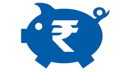 button - piggy bank in blue with rupie symbol - rupie3 - g1209