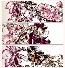 Vector backgrounds set with orchid flowers