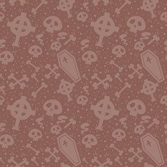 Creepy cartoon Halloween seamless texture