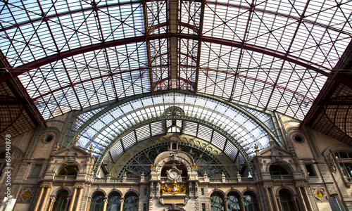 View at famous train station of Antwerpen, Belgium