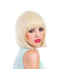 Pensive blond cute girl looking away