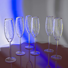 Crystal glasses on a round table