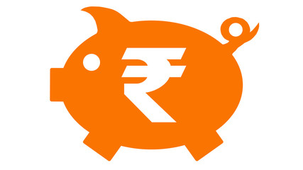 button - piggy bank in orange with rupie symbol - rupie6 - g1212