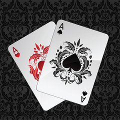 two aces playing cards(spades and hearts)