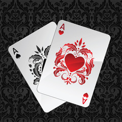 two aces playing cards(hearts and spades)