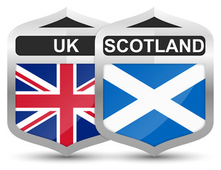 UK & Scotland – Metal Shield Icons