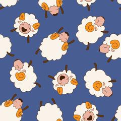 Bunch of sheeps. Seamless pattern.