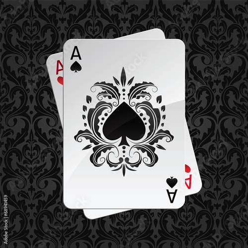 two aces playing cards on black damask pattern(spades) - 68941459