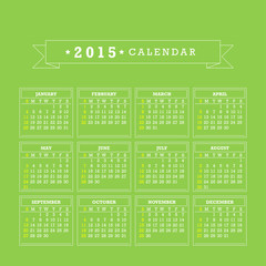 2015 Calendar. Week starts with sunday. Vector graphic template.