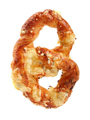 pretzel with cheese and cumin isolated on white