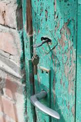 Rusty keys in old door lock