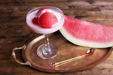 Watermelon with yogurt in goblet