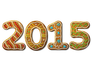 New Year 2015 in shape of gingerbread isolated on white. Vector