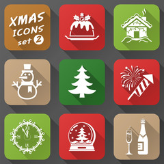 Set of christmas icons in flat style with long shadow effect