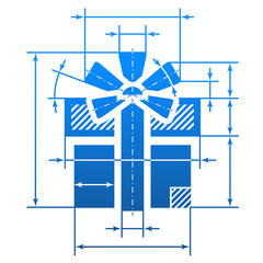 Gift symbol with dimension lines. Element of blueprint drawing