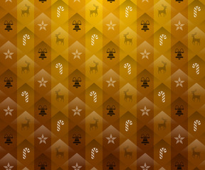 Christmas gold background. New Year pattern with candy and bell