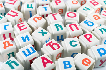 Cyrillic letters on cubes