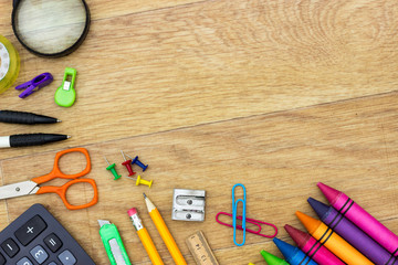 Assortment of various school items