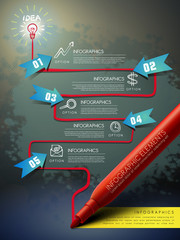 creative template with mark pen drawing flow chart infographic