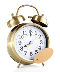 Alarm clock with sticker isolated on white