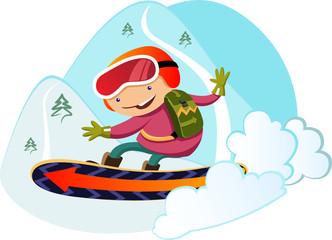 boy snowboarding. Winter fun. Ski Resort.