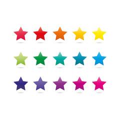 Rainbow star shape icons isolated on white background