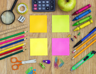 Colorful sticky notes with school items