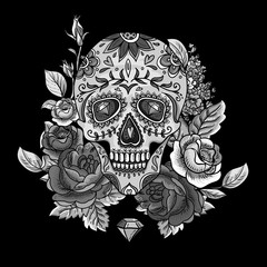 Monochrome Skull, diamond and Flowers Card