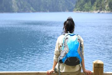 woman tourist enjoy the beautiful landscape