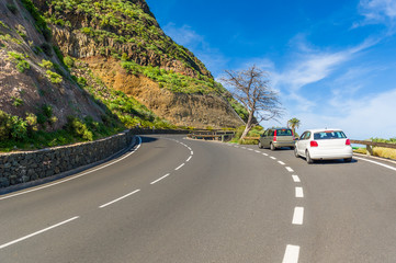 Mountain road at La Gomera island. Spain.