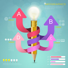 creative template infographic with pencil and arrows