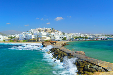 Waves breaking on Naxos town pier, Greece