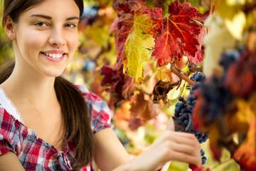 Portrait of woman in vineyard