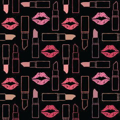 Vector seamless pattern background with lips and lipsticks 1