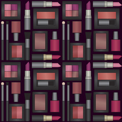 Vector seamless pattern background with makeup objects 2