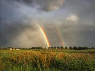 zwei helle Regenbögen