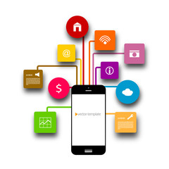 Smart phone and apps vector illustration