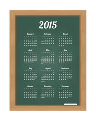 Calendar 2015 on chalkboard