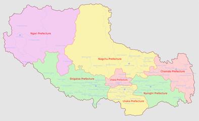 Tibet Administrative Regions Map