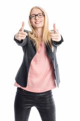 Optimistische Geschäftsfrau