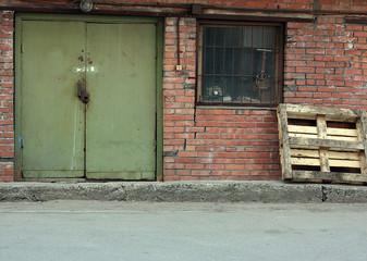 retro style red brick 1950s warehouse