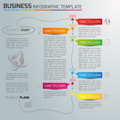Infographic timeline template with icons, light background, 6 s