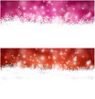 Christmas banners with fallen snowflakes.