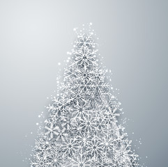 Christmas light snow fir tree.