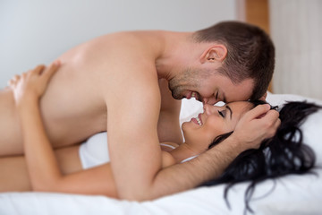 young couple during foreplay