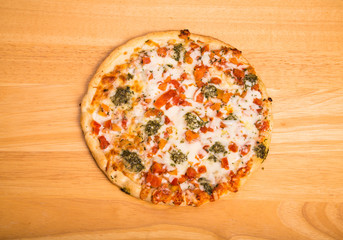 Vegetable Pizza on Wood Counter