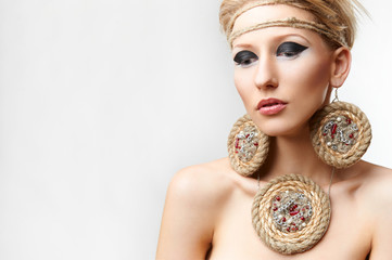 blond lady with handmade bijouterie