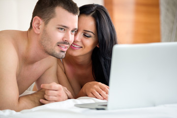 Couple watching porn movie